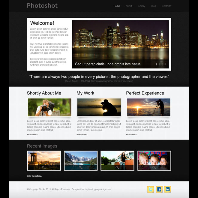 professional photo shoot website template design psd Website Template PSD example