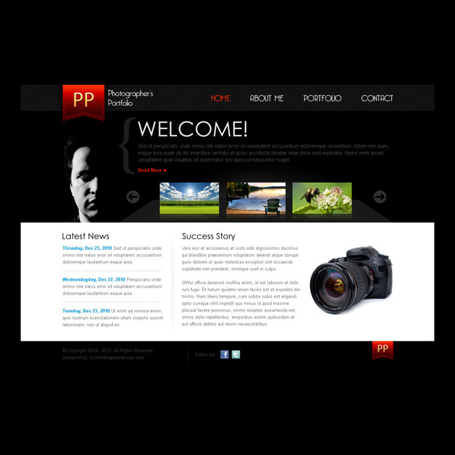 simple and clean photographers portfolio website template design psd Website Template PSD example
