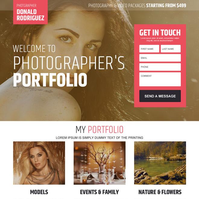 photographers portfolio converting landing page design Photography example