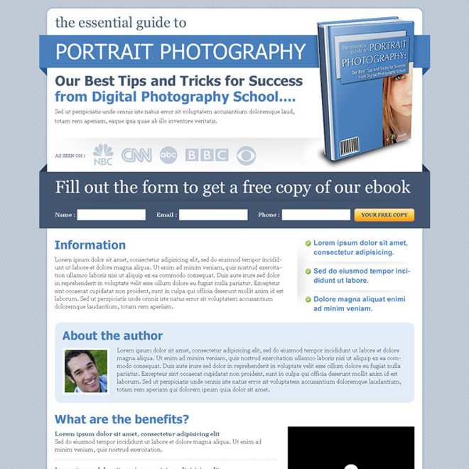 clean minimal and effective ebook lead capture squeeze page design Ebook example