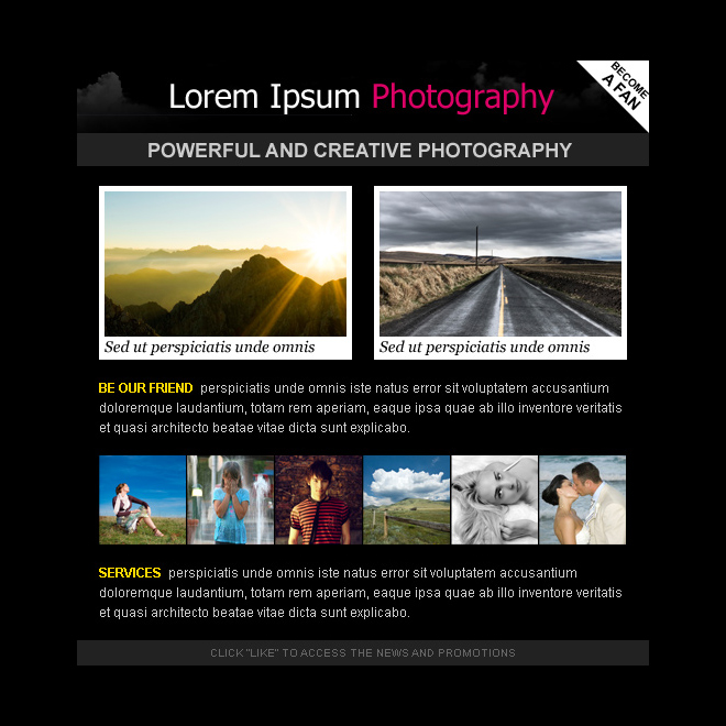 attractive photography html facebook fan page design template PPV Landing Page example