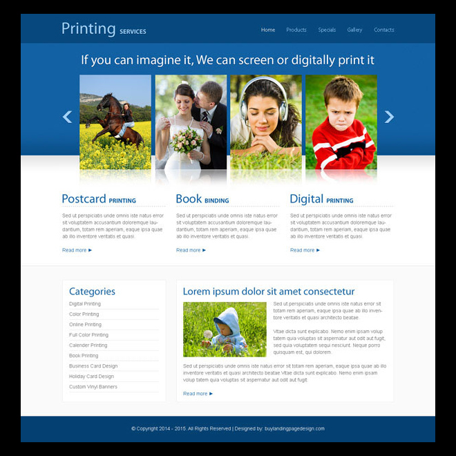 photography printing service clean and minimal looking website template design psd Website Template PSD example