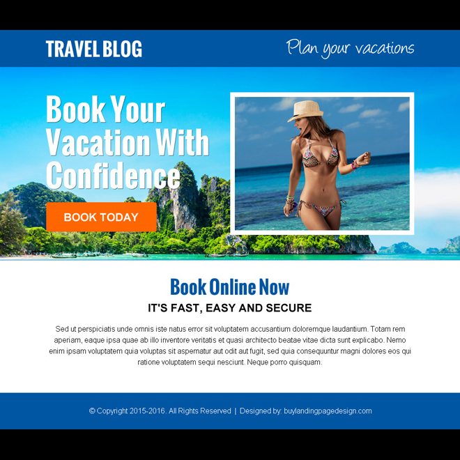 plan and book your vacation call to action ppv landing page Travel example
