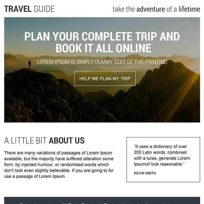 professional travel guide ppv landing page design Travel example