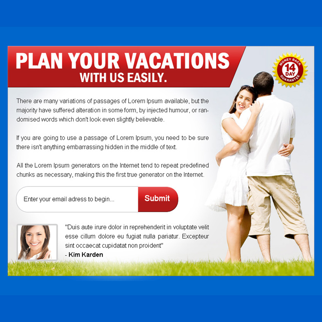 plan your vacations pay per view landing page design PPV Landing Page example