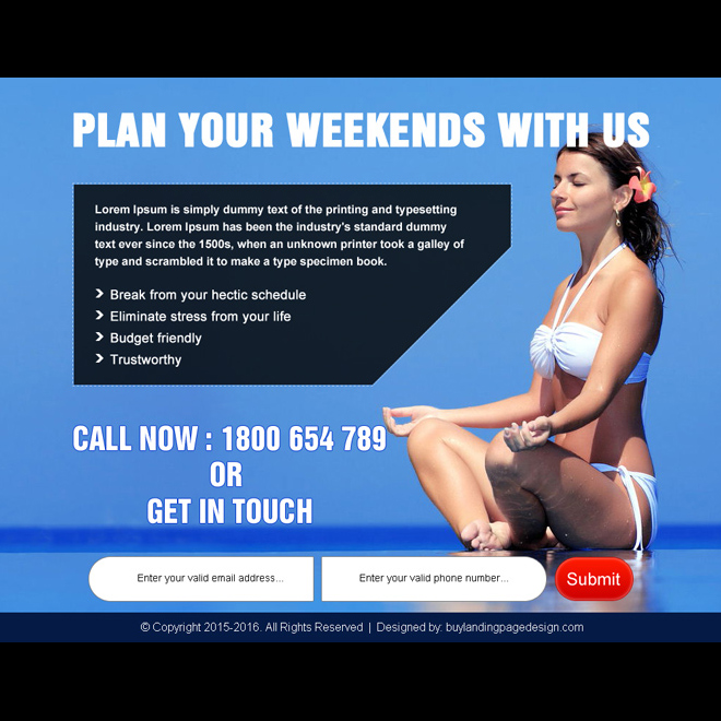 plan your weekend travel lead capture ppv landing page design PPV Landing Page example