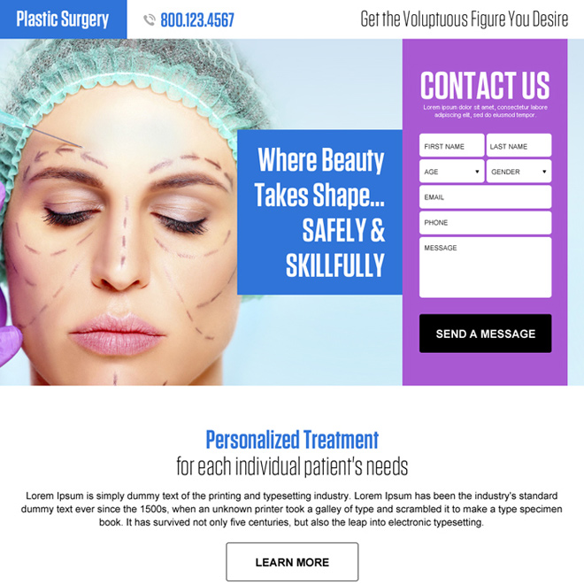 plastic surgery lead generating responsive landing page design Cosmetic Surgery example