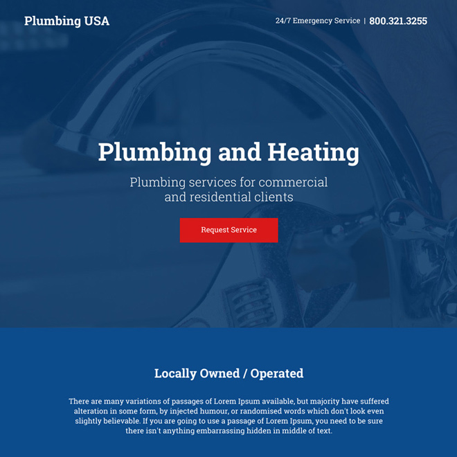 plumbing and heating services responsive call to action landing page Plumbing example
