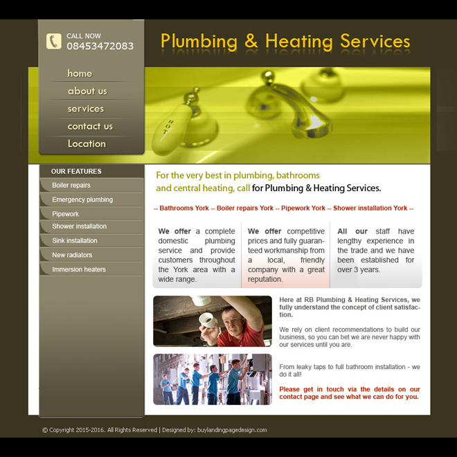 plumbing and heating services website design template for sale Website Template PSD example