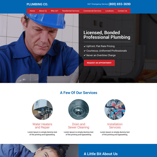 plumbing services professional and clean website design Plumbing example