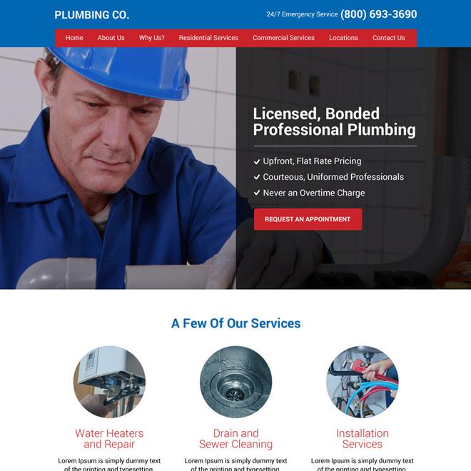 plumbing company responsive website design Plumbing example
