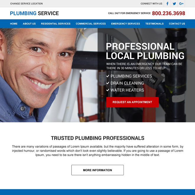 professional local plumbing responsive website design Plumbing example