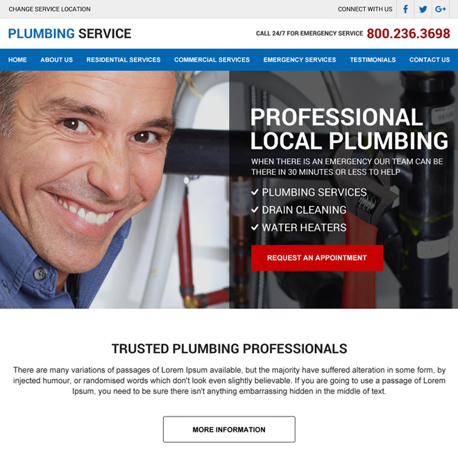 professional local plumbing service lead generating html website design Plumbing example