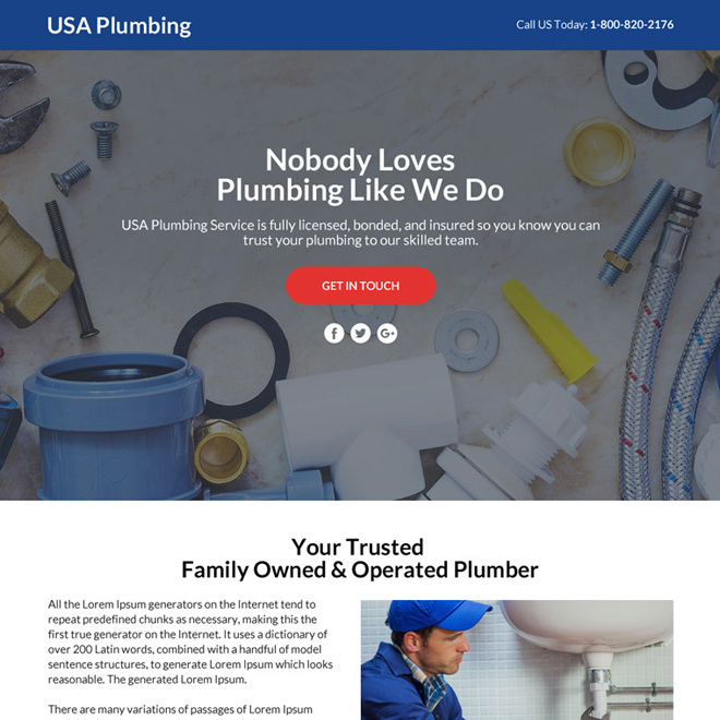 plumbing services lead funnel landing page design Plumbing example