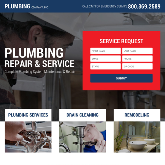 plumbing service video lead generating landing page design Plumbing example