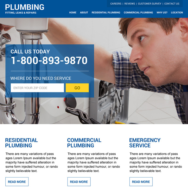 modern and clean plumbing service html website design Plumbing example