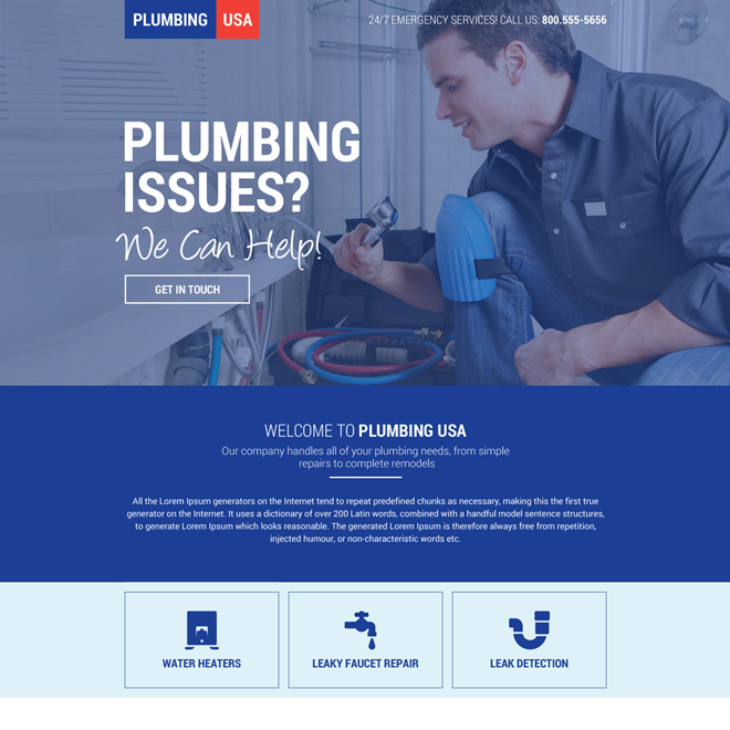 plumbing service in USA mini landing page design Plumbing example