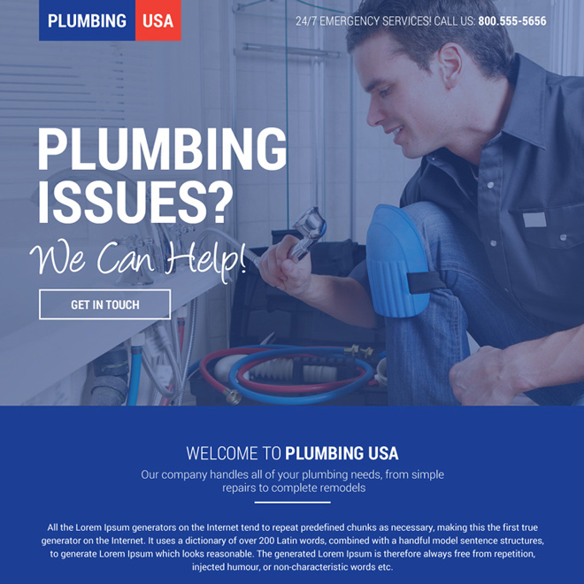 responsive plumbing solution mini landing page design Plumbing example