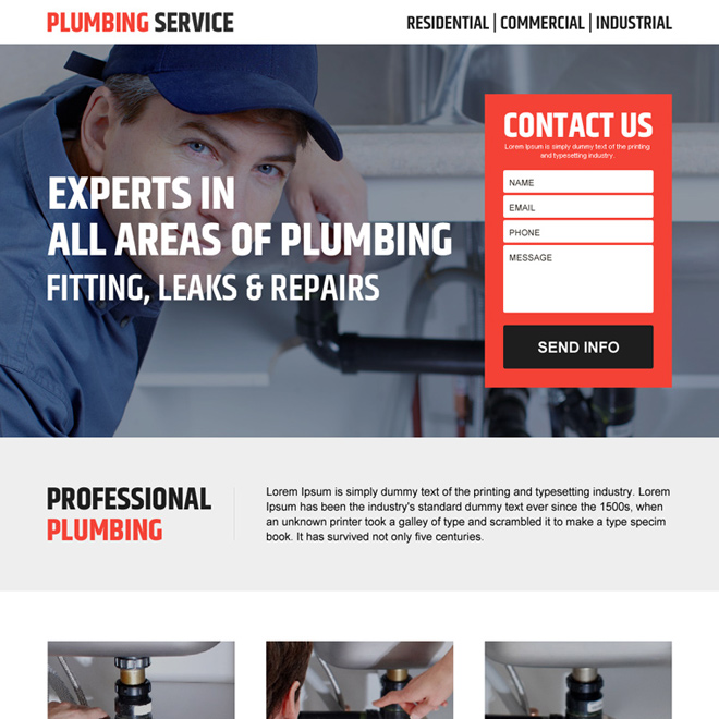 plumbing service clean lead generating landing page design Plumbing example