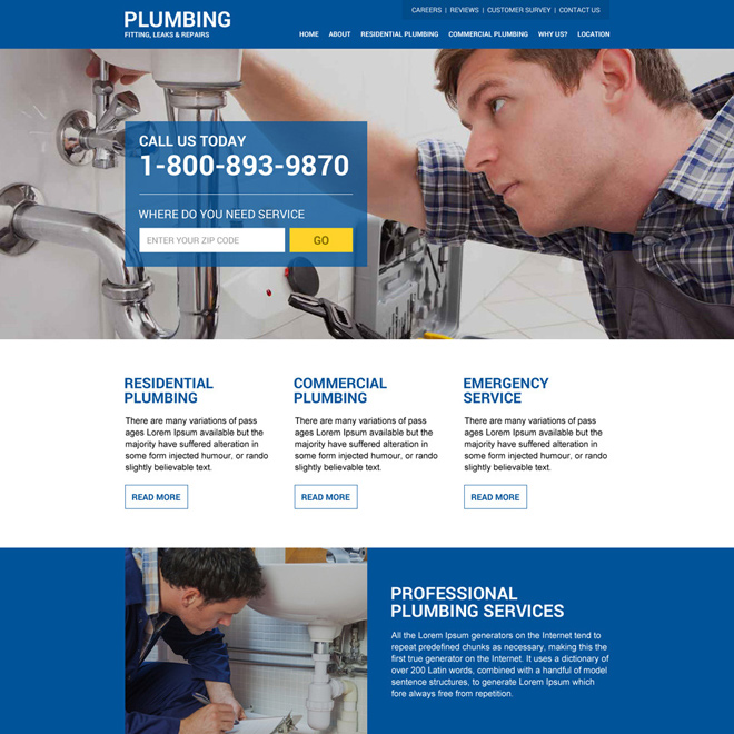 plumbing service responsive zip capturing website design Plumbing example
