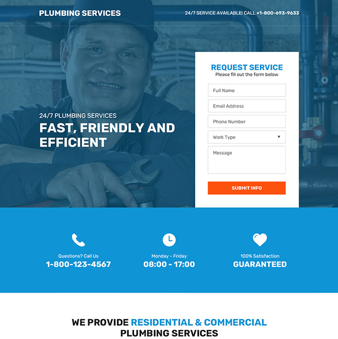 residential and commercial plumbing service responsive landing page Plumbing example