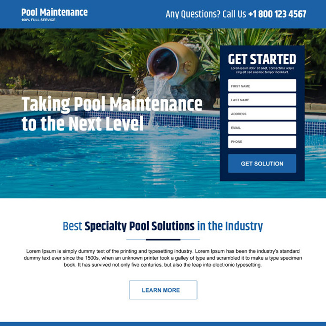 swimming pool cleaning and maintenance service lead capture landing page Pool Cleaning example