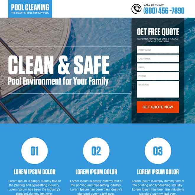 pool cleaning service lead capture landing page design Cleaning Services example