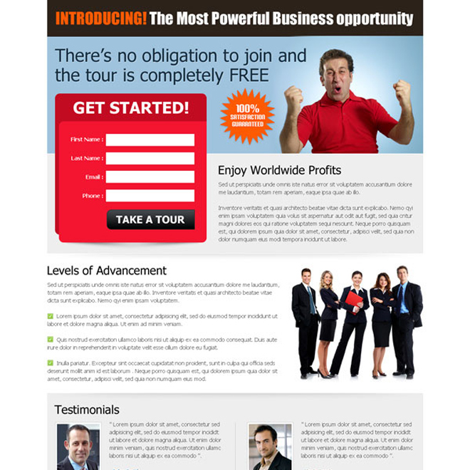 most powerful business opportunity converting and attractive squeeze page lander design Business Opportunity example