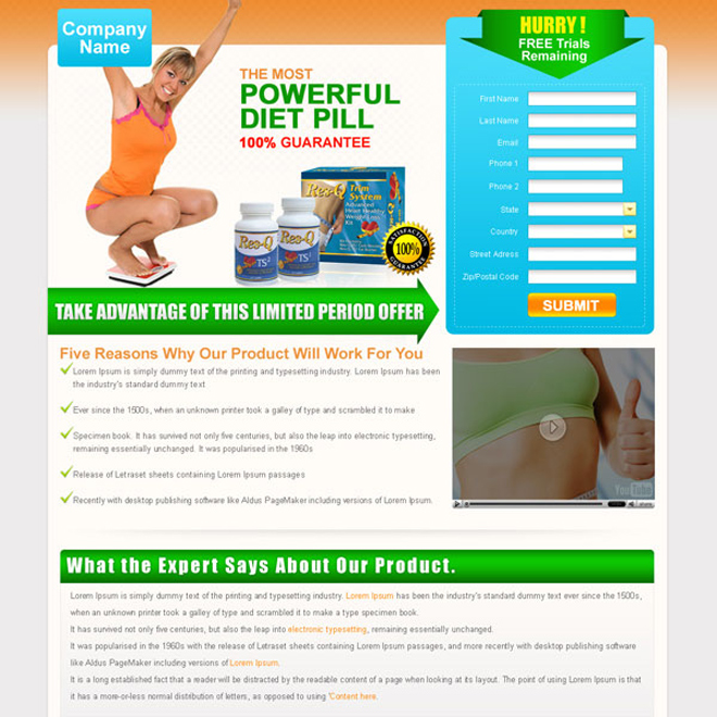 powerful weight loss diet pill lead capture landing page design for sale Weight Loss example