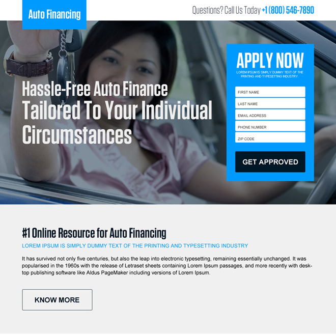hassle free auto finance lead capture landing page design Auto Financing example