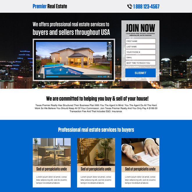premier real estate lead capturing landing page Real Estate example