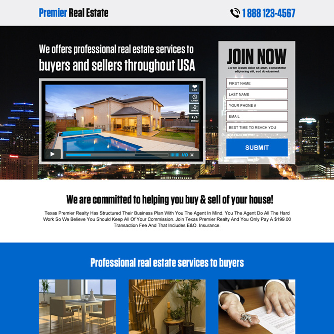 premier real estate responsive landing page design Real Estate example