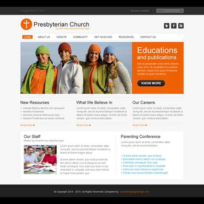 presbyterian clean and converting church website template design psd at affordable price Website Template PSD example