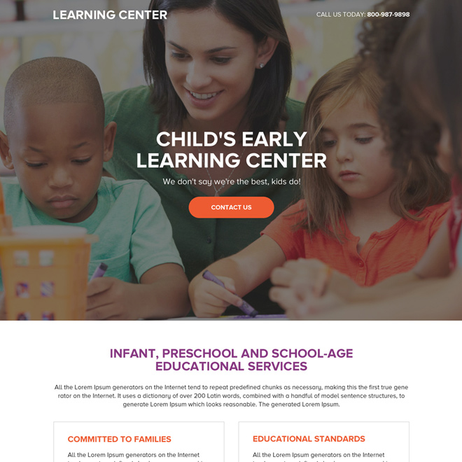 preschool education service call to action landing page Education example