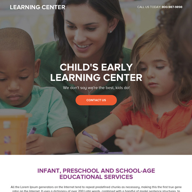 preschool education service responsive landing page design Education example
