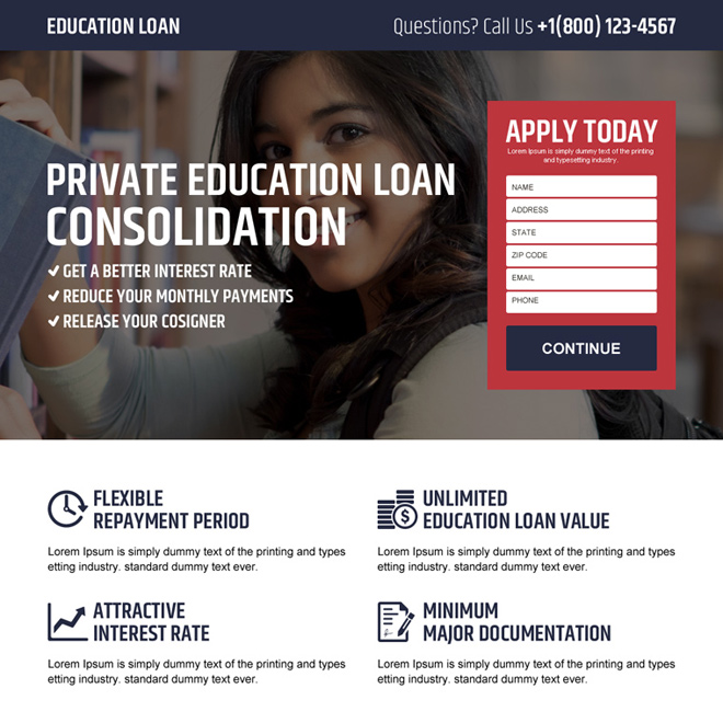 private education loan landing page design Loan example