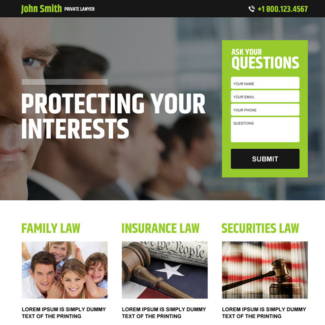 private lawyer lead capture landing page design Attorney and Law example