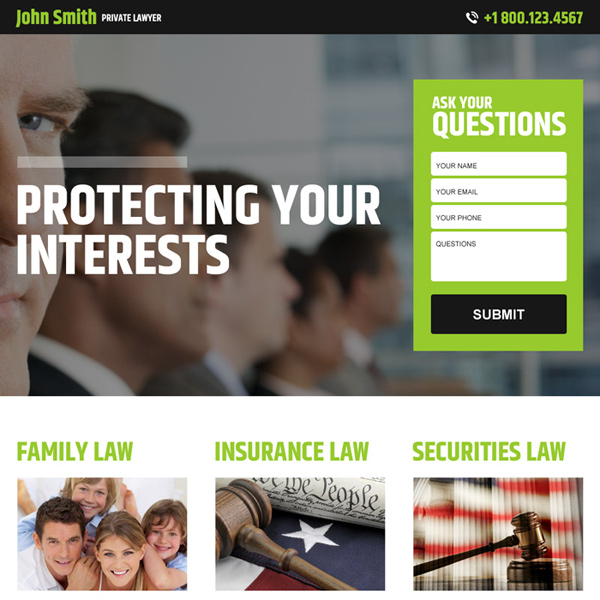 private lawyer lead gen best responsive landing page design Attorney and Law example