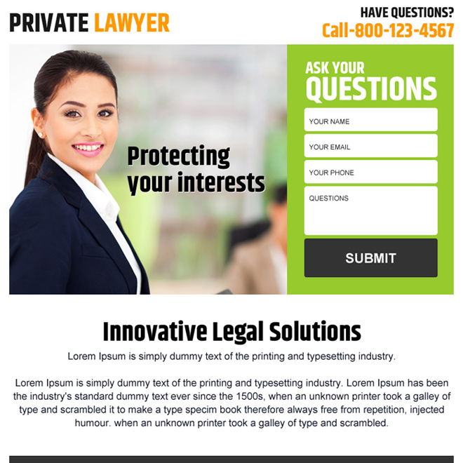 private lawyer lead generating ppv landing page design Attorney and Law example