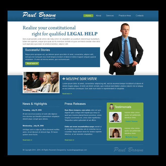 clean and effective website template design psd for lawyer personal website design Website Template PSD example