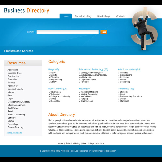 product and services directory website template design psd Website Template PSD example