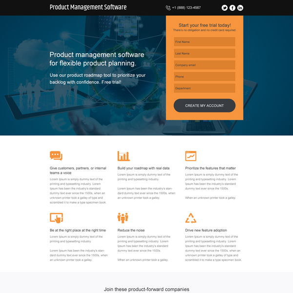 product management software free trial responsive landing page Software example
