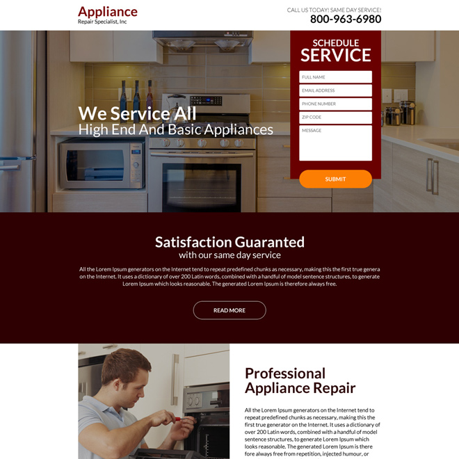 professional appliance repair responsive landing page design Appliance repair example