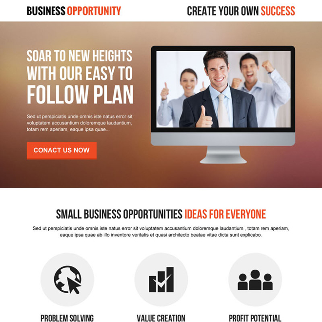 professional and clean corporate business solution lead gen responsive landing page design Business example