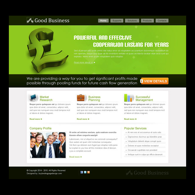 powerful and effective business website template design psd Website Template PSD example