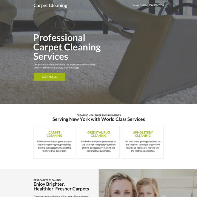 professional carpet cleaning service landing page design Cleaning Services example