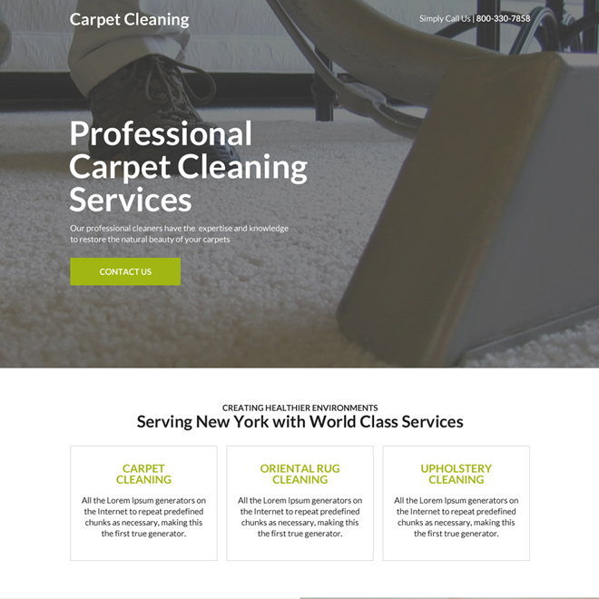 professional carpet cleaning responsive landing page design Cleaning Services example