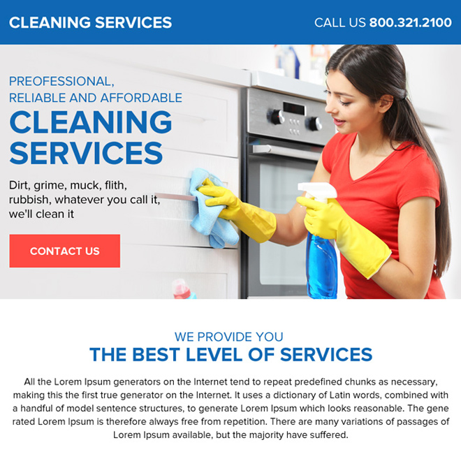 professional cleaning services ppv landing page design Cleaning Service example