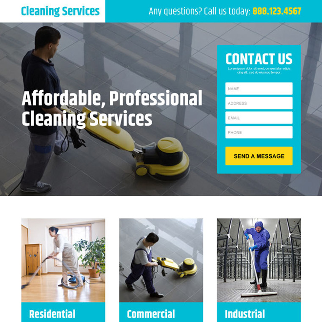 professional cleaning services lead generating landing page design template Cleaning Services example