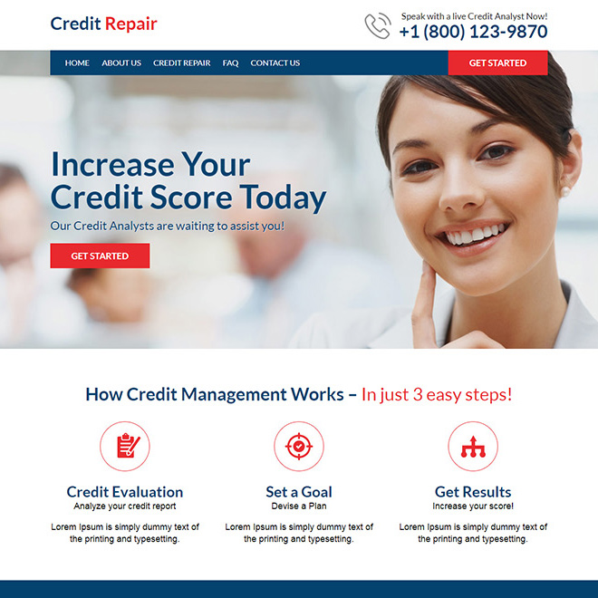 professional credit repair responsive website design Credit Repair example